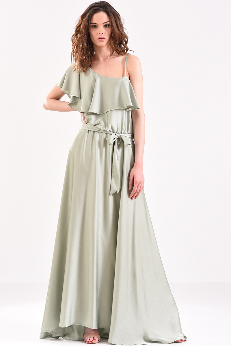 02bd82237ce Φόρεμα μακρύ με βολάν στον ώμο και ζώνη στη μέση βεραμάν